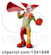 Clipart Of A 3d Funky Clown Holding A Strawberry And Announcing With A Megaphone Royalty Free Illustration