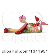 Clipart Of A 3d Funky Clown Holding A Pink Frosted Cupcake And Resting On His Side Royalty Free Illustration