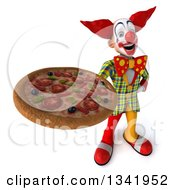 Clipart Of A 3d Funky Clown Holding Up A Pizza Royalty Free Illustration