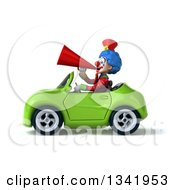 Clipart Of A 3d Colorful Clown Announcing With A Megaphone And Driving A Green Convertible Car To The Left Royalty Free Illustration
