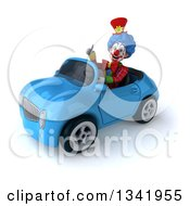 Clipart Of A 3d Colorful Clown Giving A Thumb Up And Driving A Blue Convertible Car Slightly To The Left Royalty Free Illustration