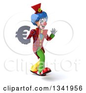 Clipart Of A 3d Colorful Clown Holding A Euro Currency Symbol Walking Slightly To The Right And Waving Royalty Free Illustration