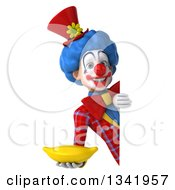 Clipart Of A 3d Colorful Clown Holding A Banana Around A Sign Royalty Free Illustration