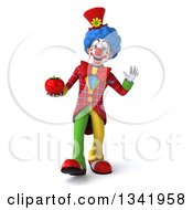 Clipart Of A 3d Colorful Clown Holding A Tomato Walking And Waving Royalty Free Illustration