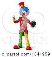 Clipart Of A 3d Colorful Clown Holding Up A Finger And A Blackberry Royalty Free Illustration