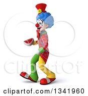 Clipart Of A 3d Colorful Clown Holding A Beef Steak And Walking To The Left Royalty Free Illustration