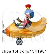 Clipart Of A 3d Colorful Clown Aviator Pilot Giving A Thumb Up And Flying A Yellow Airplane To The Left Royalty Free Illustration