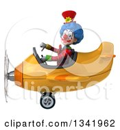 Clipart Of A 3d Colorful Clown Aviator Pilot Giving A Thumb Down And Flying A Yellow Airplane To The Left Royalty Free Illustration
