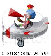 Clipart Of A 3d Colorful Clown Aviator Pilot Announcing With A Megaphone And Flying A White And Red Airplane To The Left Royalty Free Illustration