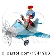 Clipart Of A 3d Colorful Clown Aviator Pilot Wearing Sunglasses Giving A Thumb Down And Flying A Blue Airplane Slightly To The Left Royalty Free Illustration
