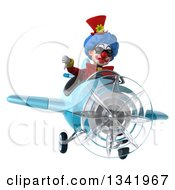 Clipart Of A 3d Colorful Clown Aviator Pilot Wearing Sunglasses Giving A Thumb Down And Flying A Blue Airplane Royalty Free Illustration