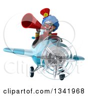 Clipart Of A 3d Colorful Clown Aviator Pilot Announcing With A Megaphone And Flying A Blue Airplane Royalty Free Illustration