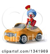 Clipart Of A 3d Colorful Clown Driving A Yellow Convertible Car Slightly To The Left Royalty Free Illustration