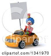 Clipart Of A 3d Colorful Clown Holding A Blank Sign And Driving A Yellow Convertible Car Slightly To The Left Royalty Free Illustration