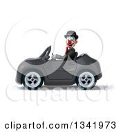 Clipart Of A 3d White And Black Clown Driving A Dark Gray Convertible Car To The Left Royalty Free Illustration