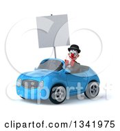 Clipart Of A 3d White And Black Clown Holding A Blank Sign And Driving A Blue Convertible Car Slightly To The Left Royalty Free Illustration