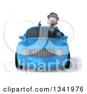 Clipart Of A 3d White And Black Clown Giving A Thumb Up And Driving A Blue Convertible Car Royalty Free Illustration