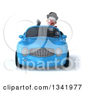 Clipart Of A 3d White And Black Clown Giving A Thumb Down And Driving A Blue Convertible Car Royalty Free Illustration