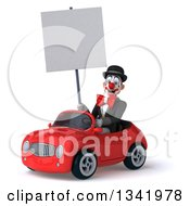 Clipart Of A 3d White And Black Clown Holding A Blank Sign And Driving A Red Convertible Car Slightly To The Left Royalty Free Illustration