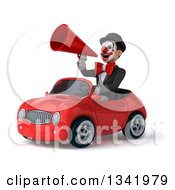 Clipart Of A 3d White And Black Clown Announcing With A Megaphone And Driving A Red Convertible Car Slightly To The Left Royalty Free Illustration