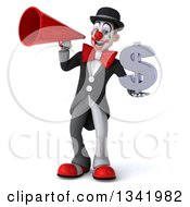 Clipart Of A 3d White And Black Clown Holding A Dollar Currency Symbol And Announcing With A Megaphone Royalty Free Illustration