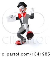 Clipart Of A 3d White And Black Clown Holding An Envelope And Dancing Royalty Free Illustration