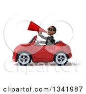 Clipart Of A 3d Young Black Businessman Wearing Sunglasses Announcing With A Megaphone And Driving A Red Convertible Car To The Left Royalty Free Illustration