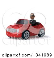 Clipart Of A 3d Young Black Businessman Wearing Sunglasses And Driving A Red Convertible Car Slightly To The Left 2 Royalty Free Illustration