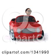 Clipart Of A 3d Young Black Businessman Wearing Sunglasses And Driving A Red Convertible Car And Turning Royalty Free Illustration
