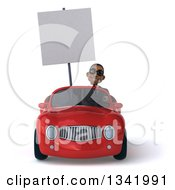 Clipart Of A 3d Young Black Businessman Wearing Sunglasses Holding A Blank Sign And Driving A Red Convertible Car Royalty Free Illustration