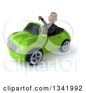 Clipart Of A 3d Young Black Businessman Giving A Thumb Down And Driving A Green Convertible Car Slightly To The Left Royalty Free Illustration