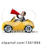 Clipart Of A 3d Young Black Businessman Announcing With A Megaphone And Driving A Yellow Convertible Car To The Left Royalty Free Illustration