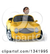 Clipart Of A 3d Young Black Businessman Driving A Yellow Convertible Car And Turning Royalty Free Illustration
