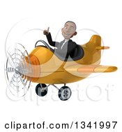 Clipart Of A 3d Young Black Businessman Aviator Pilot Giving A Thumb Up And Flying A Yellow Airplane Royalty Free Illustration