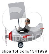 Clipart Of A 3d Young Black Businessman Aviator Pilot Wearing Sunglasses Holding A Blank Sign And Flying A White And Red Airplane To The Left Royalty Free Illustration