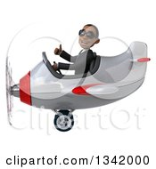 Clipart Of A 3d Young Black Businessman Aviator Pilot Wearing Sunglasses Giving A Thumb Up And Flying A White And Red Airplane To The Left Royalty Free Illustration
