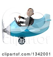 Clipart Of A 3d Young Black Businessman Aviator Pilot Giving A Thumb Down And Flying A Blue Airplane To The Left Royalty Free Illustration