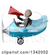 Clipart Of A 3d Young Black Businessman Aviator Pilot Announcing With A Megaphone And Flying A Blue Airplane To The Left Royalty Free Illustration