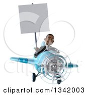Clipart Of A 3d Young Black Businessman Aviator Pilot Holding A Blank Sign And Flying A Blue Airplane Royalty Free Illustration