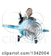 Clipart Of A 3d Young Black Businessman Aviator Pilot Giving A Thumb Up And Flying A Blue Airplane Royalty Free Illustration