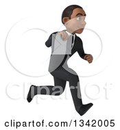 Clipart Of A 3d Young Black Businessman Holding An Envelope And Sprinting To The Right Royalty Free Illustration