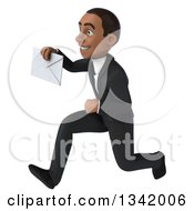 Clipart Of A 3d Young Black Businessman Holding An Envelope And Sprinting To The Left Royalty Free Illustration