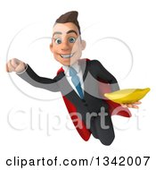 Clipart Of A 3d Young Super White Businessman Holding A Banana And Flying Royalty Free Illustration