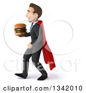 Clipart Of A 3d Young Super White Businessman Holding A Double Cheeseburger And Walking To The Left Royalty Free Illustration