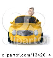 Clipart Of A 3d Young White Businessman Driving A Yellow Convertible Car Royalty Free Illustration