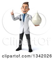 Clipart Of A 3d Young Brunette White Male Doctor Holding Up A Finger And A Lotion Milk Or Soap Drop Royalty Free Illustration