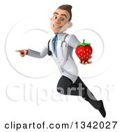 Clipart Of A 3d Young Brunette White Male Nutritionist Doctor Holding A Strawberry Pointing And Flying Royalty Free Illustration
