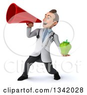 Clipart Of A 3d Young White Male Nutritionist Doctor Holding A Green Bell Pepper And Announcing To The Left With A Megaphone Royalty Free Illustration