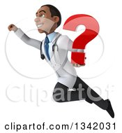 Clipart Of A 3d Young Black Male Doctor Holding A Question Mark And Flying Up To The Left Royalty Free Illustration