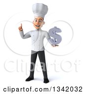 Clipart Of A 3d Young White Male Chef Holding Up A Finger And A Dollar Currency Symbol Royalty Free Illustration